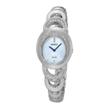jcpenney.com | Seiko® Womens Crystal-Accent Mother of Pearl Silver Bracelet Watch