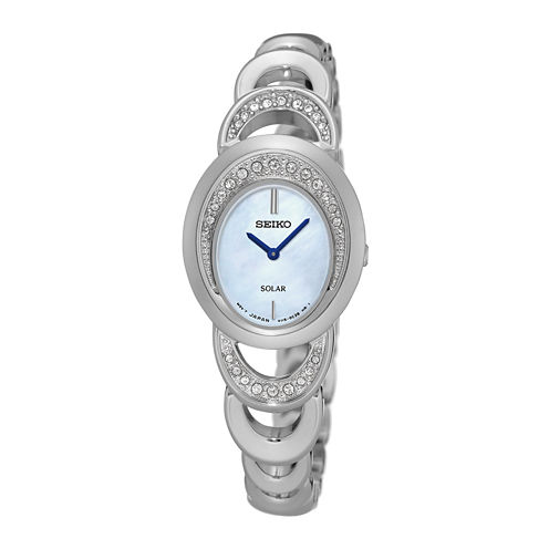 Seiko® Womens Crystal-Accent Mother of Pearl Silver Bracelet Watch