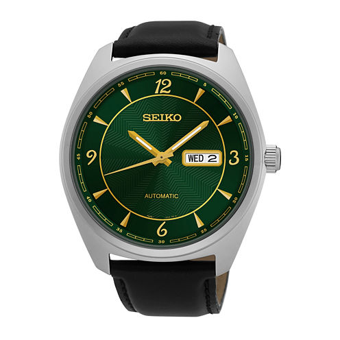 Seiko® Mens Black Strap Watch