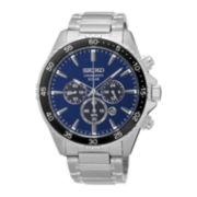 Seiko® Mens Silver-Tone Solar Chronograph Bracelet Watch SSC445