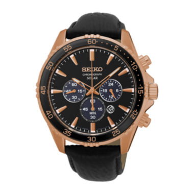 jcpenney.com | Seiko® Mens Rose-Tone Chronograph Black Leather Strap Watch SSC448