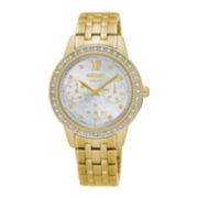 Seiko® Womens Crystal-Accent Gold-Tone Chronograph Bracelet Watch SNE872