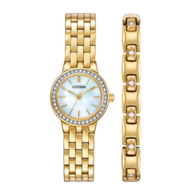 jcpenney.com | Citizen® Womens Crystal-Accent Gold-Tone Stainless Steel Bracelet and Watch Set EJ6102-64D