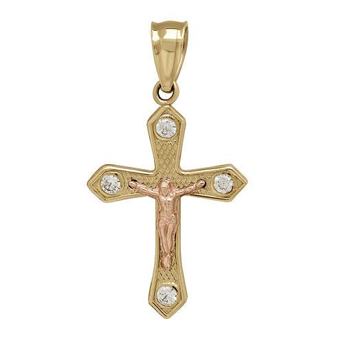 Tesoro™ Cubic Zirconia 14K Two-Tone Gold Crucifix Pendant