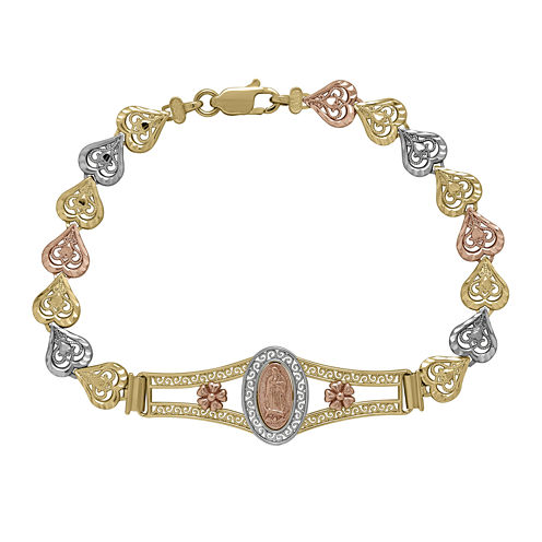 """Tesoro™ 14K Tri-Tone Our Lady of Guadalupe Heart Link 7"""" Bracelet"""
