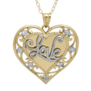10K Gold Diamond-Accent Love Heart Filigree Pendant Necklace