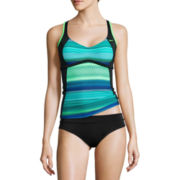 Nike® Colorblock Racerback Tankini Swim Top, Solid Briefs, Hipsters, Board Shorts or, Skirted Swim Bottoms