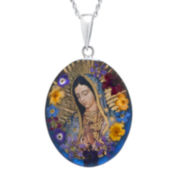 Sterling Silver Our Lady of Guadalupe Pressed Flower Pendant Necklace