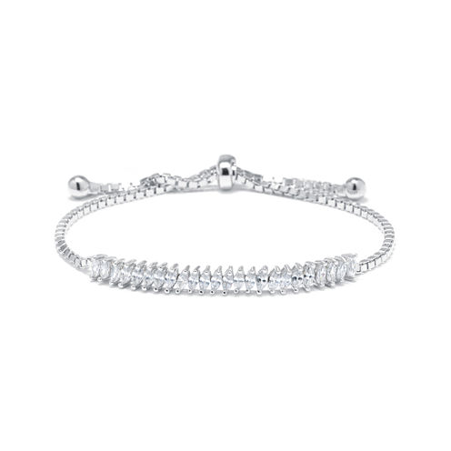 Marquise-Cut Cubic Zirconia Sterling Silver Tennis Slider Bracelet