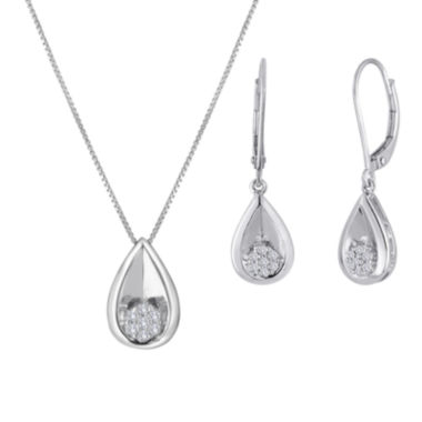 jcpenney.com | diamond blossom 1/10 CT. T.W. Diamond Cluster Sterling Silver Teardrop Pendant Necklace or Earrings