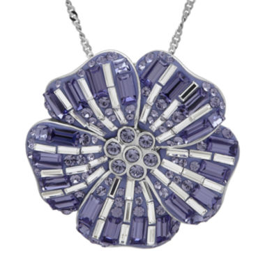 jcpenney.com | Sterling Silver Purple and White Crystal Flower Pendant Necklace