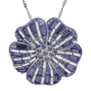 Sterling Silver Purple and White Crystal Flower Pendant Necklace
