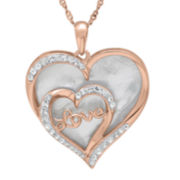 Crystal-Accent Mother-of-Pearl 14K Rose Gold Over Silver Love Heart Pendant Necklace