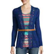 Self Esteem® Long-Sleeve Belted Cardigan Top