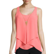 by&by By Sleeveless Fold Over Front Necklace Tank