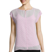 Liz Claiborne® Cuff Short-Sleeve Shell Top - Tall