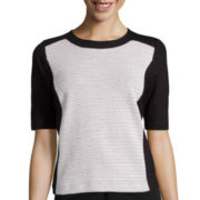 Liz Claiborne® Elbow-Sleeve Colorblocked Knit Top