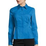 Liz Claiborne® Long-Sleeve Button-Front Peplum Shirt