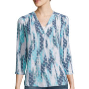 a.n.a® 3/4-Sleeve Shirred V-Neck Blouse - Tall