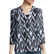 a.n.a® 3/4-Sleeves Sheer V-Neck Top - Tall