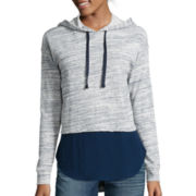 a.n.a® Long-Sleeve Layered-Look Hoodie Sweatshirt- Petites