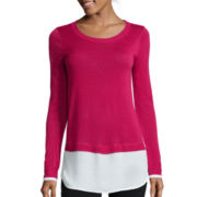 a.n.a® Long-Sleeve Side Slit Layered-Look Sweater