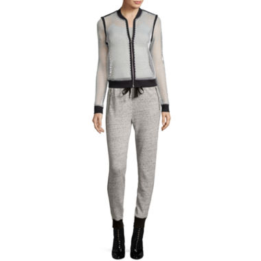 jcpenney.com | a.n.a® Mesh Bomber Jacket, Essential Strappy Cami Shirt or Knit Jogger Pants