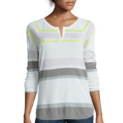 Liz Claiborne® 3/4-Sleeve Split-Neck Striped T-Shirt