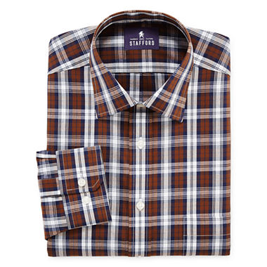 4-Pack Stafford Travel Easy-Care Broadcloth Dress Shirt (Green Tartan)