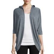 Xersion™ Studio Elbow-Sleeve Hooded Cardigan