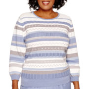 Alfred Dunner® Vienna 3/4-Sleeve Pointelle Sweater