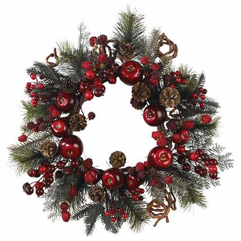 """22"""" Indoor/Outdoor Christmas Apple Berry Wreath"""
