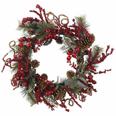 """24"""" Indoor/Outdoor Christmas Berry Wreath"""