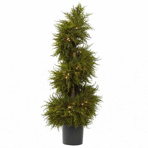 "43"" Christmas Tree Cedar Spiral Lit Topiary"