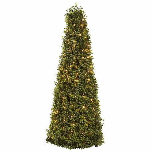 "39"" Christmas Tree Boxwood Cone With Lights"
