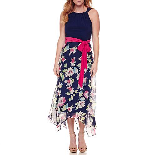 R & K Originals Sleeveless Hanky Hem Maxi Dress