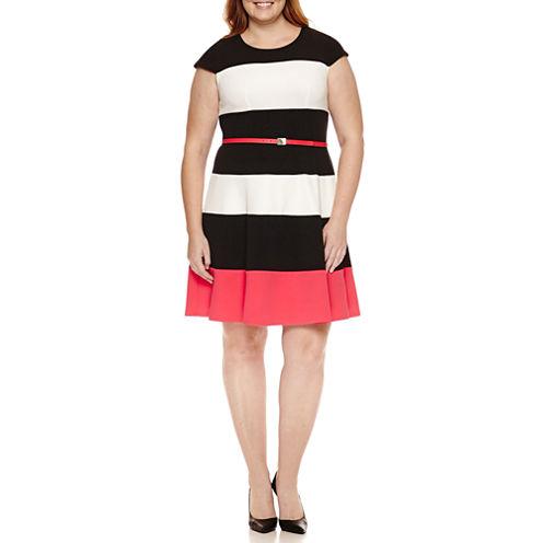 R & K Originals Short Sleeve Belted Fit & Flare Dress-Plus