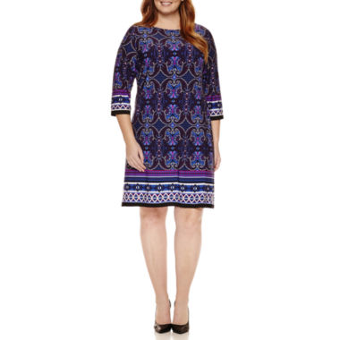 jcpenney.com | London Times 3/4 Sleeve Sheath Dress-Plus