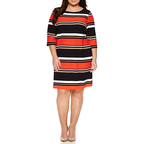 Studio 1 3/4 Sleeve Stripe Textured Knit Sheath Dress-Plus