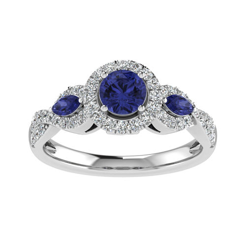 Cherished Hearts Womens 1/2 CT. T.W. Round White Sapphire 14K Gold Engagement Ring