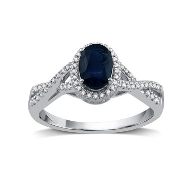 jcpenney.com | I Said Yes Womens 1/4 CT. T.W. Oval Blue Sapphire Platinaire Engagement Ring