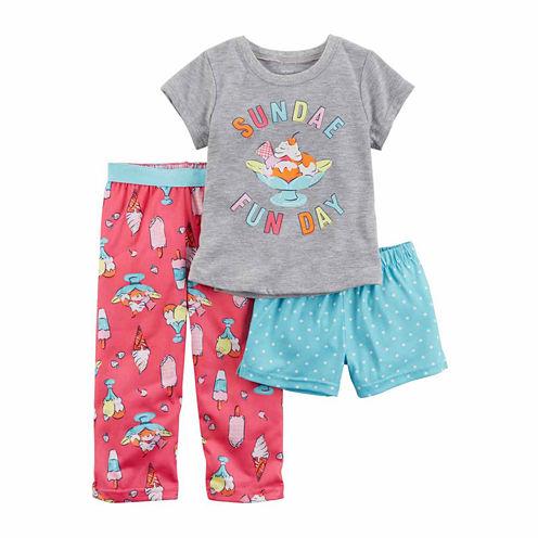 Carter'S Girls 3-Pc. Poly Shorts Pajama Set