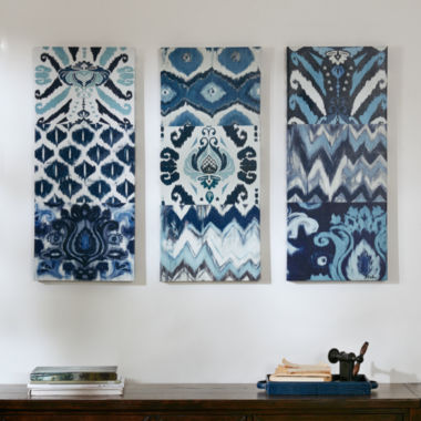 jcpenney.com | Madison Park Flourish Ikat With Roll Gel Coat 3-pc. Canvas Art