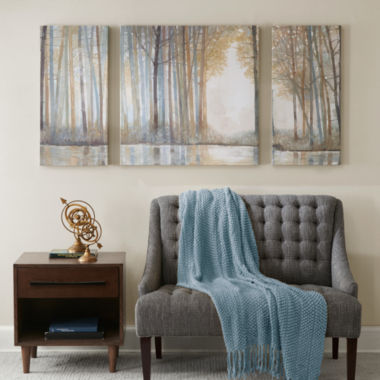 jcpenney.com | Madison Park Forest Reflections With Roll Gel Coat 3-pc. Canvas Art