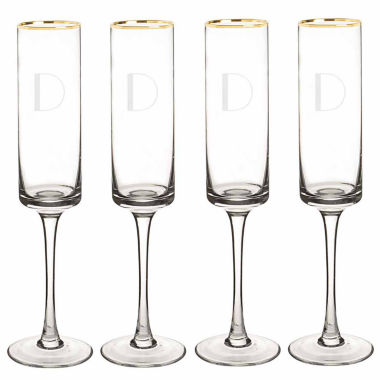 jcpenney.com | Cathy's Concepts Personalized Gold Rim 4-pc. Champagne Flutes