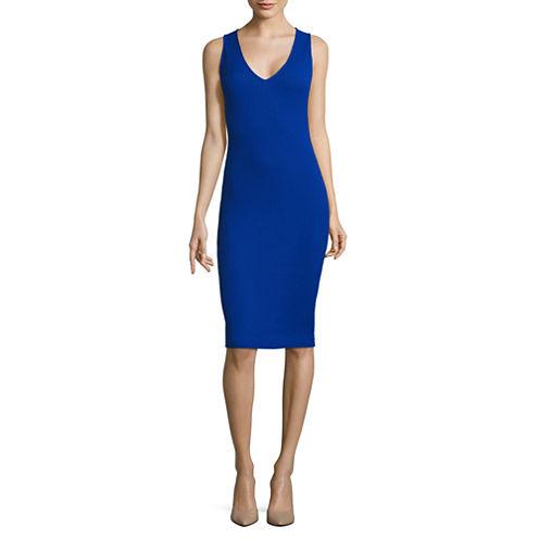 Belle + Sky Sleeveless V Neck Bodycon Dress