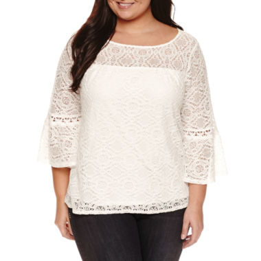 jcpenney.com | Alyx 3/4 Sleeve Boat Neck Knit Blouse-Plus