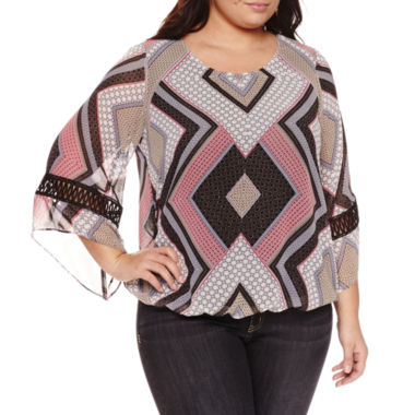 jcpenney.com | Alyx Long Sleeve Round Neck Woven Blouse-Plus