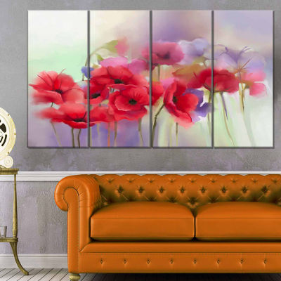 Designart watercolor red poppy flowers painting canvas art work 4 designart watercolor red poppy flowers painting canvas art work 4 panels mightylinksfo