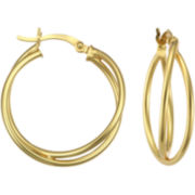 Double Hoop Earrings 14K Over Sterling Silver